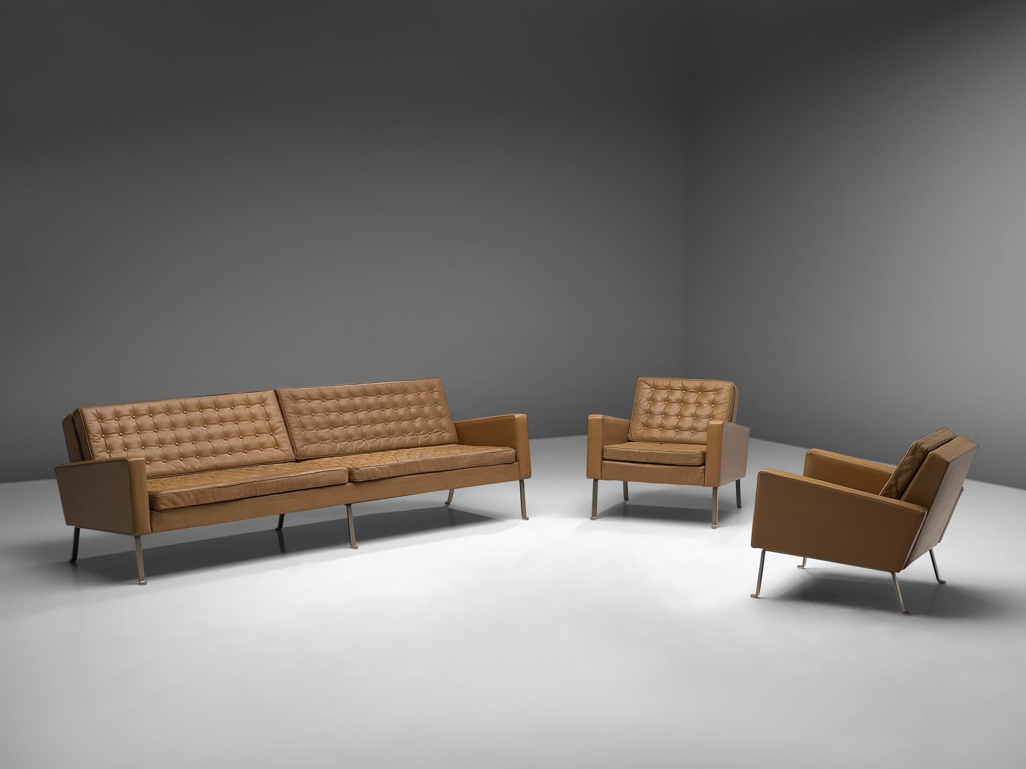 Marvelous Roland Rainer Large 4 Seat Sofa In Leather For Wilkhahn Germany 1960S Alphanode Cool Chair Designs And Ideas Alphanodeonline