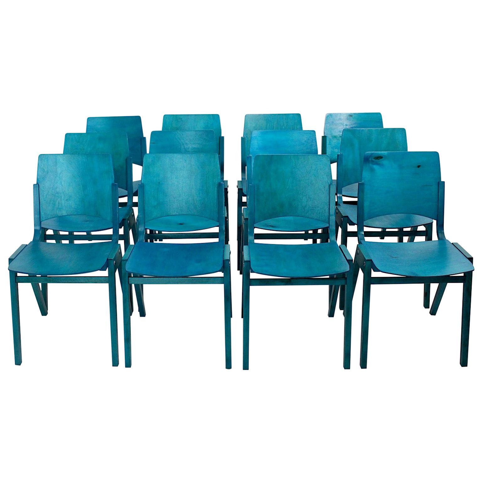 Roland Rainer Mid-Century Modern Twelve Blue Vintage Dining Chairs, Vienna, 1952