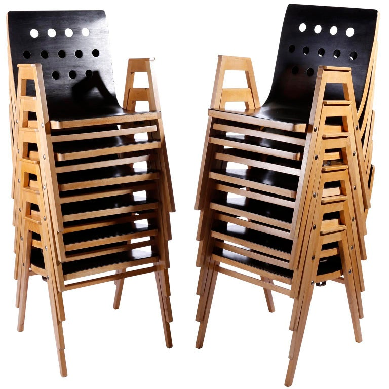 Roland Rainer, Set of 12 Armchairs Stacking Chairs, 1951 For Sale 3