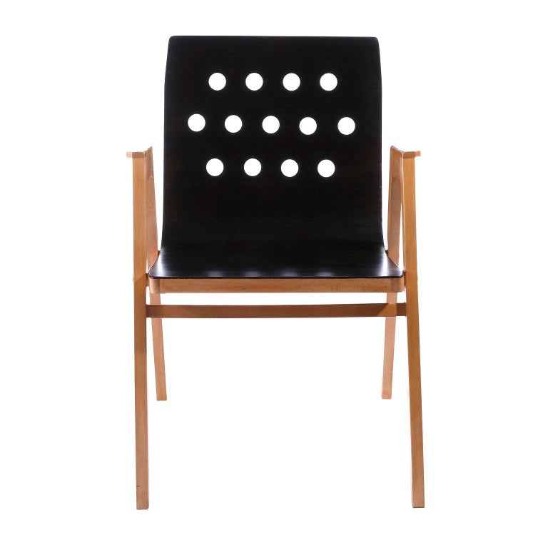 A set of twelve stackable chairs designed by Prof. Roland Rainer in 1951 and manufactured by Emil & Alfred Pollak, Austria, in 1950s. Roland Rainer used these chairs for the Viennese city hall