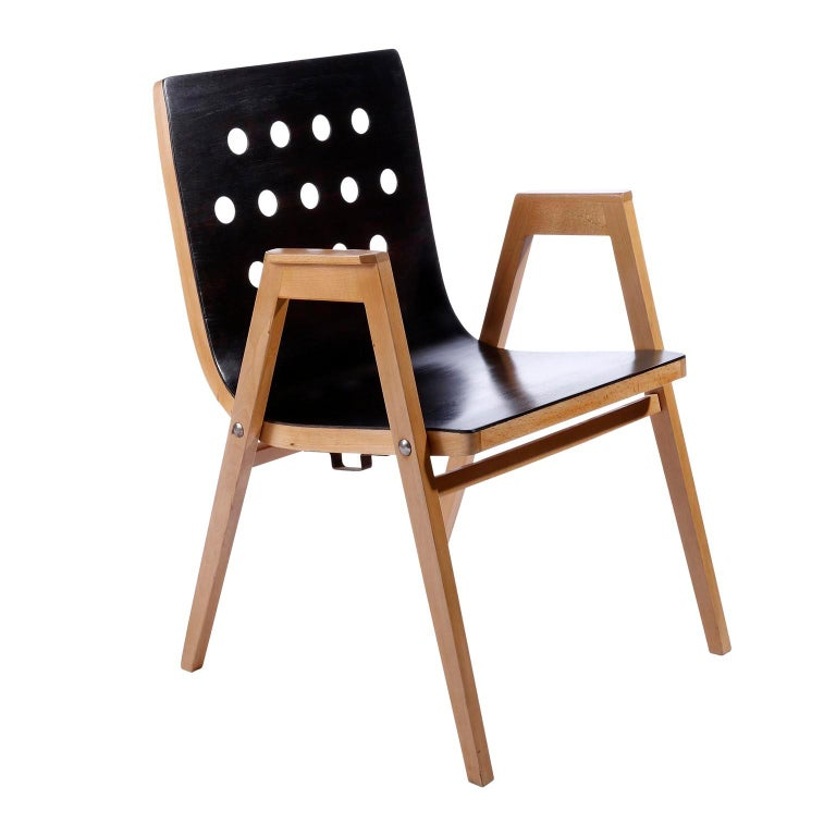 Roland Rainer, Set of 12 Armchairs Stacking Chairs, 1951 In Good Condition For Sale In Vienna, AT