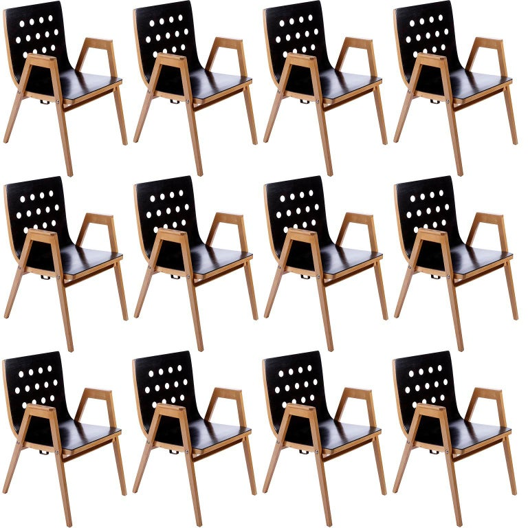 Roland Rainer, Set of 12 Armchairs Stacking Chairs, 1951 For Sale