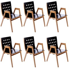 Roland Rainer, Set of 6 Armchairs Stacking Chairs, 1951