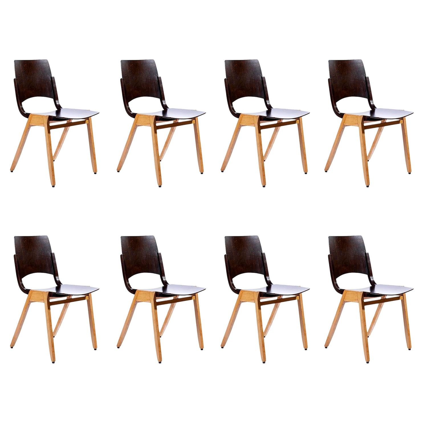 Roland Rainer, Set of Eight Stacking Chairs P7, Bicolored Beech, Austria, 1952