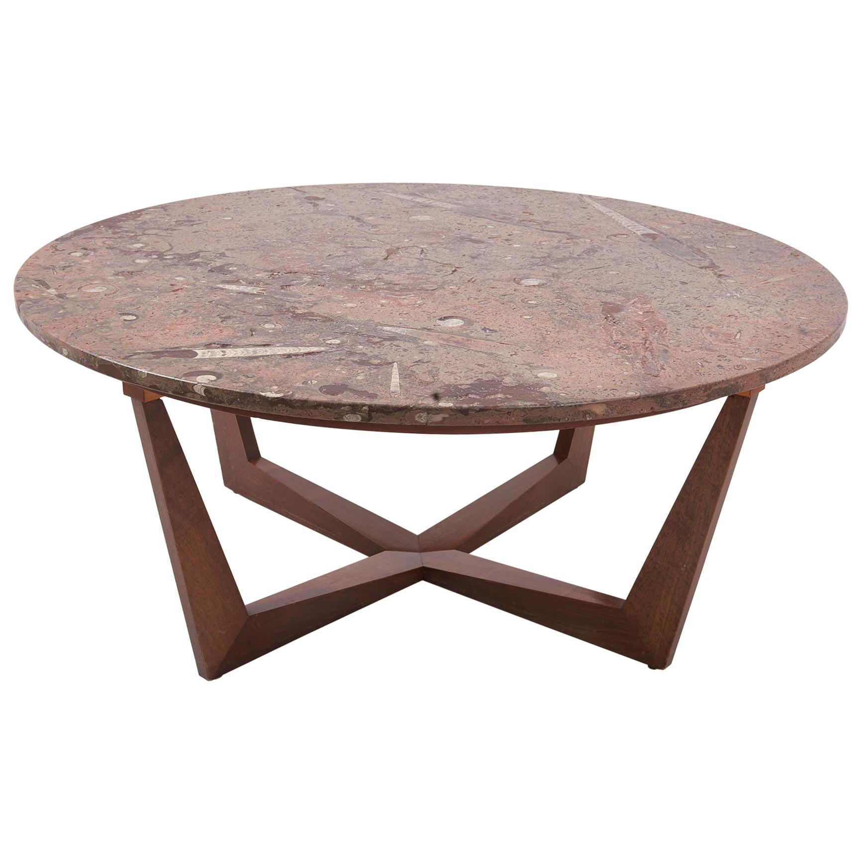 Ronald Schmitt Fossil Stone Top Coffee Table, Germany, 1970s
