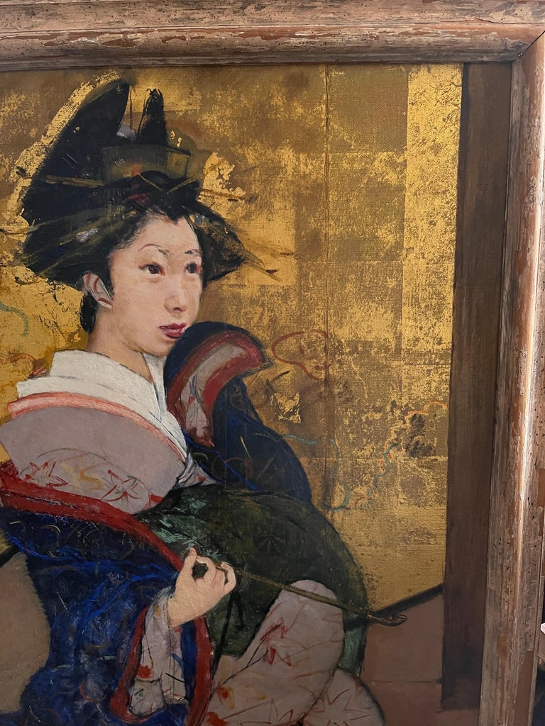 Portrait of a Geisha - Expressionist Painting by Roland Strasser