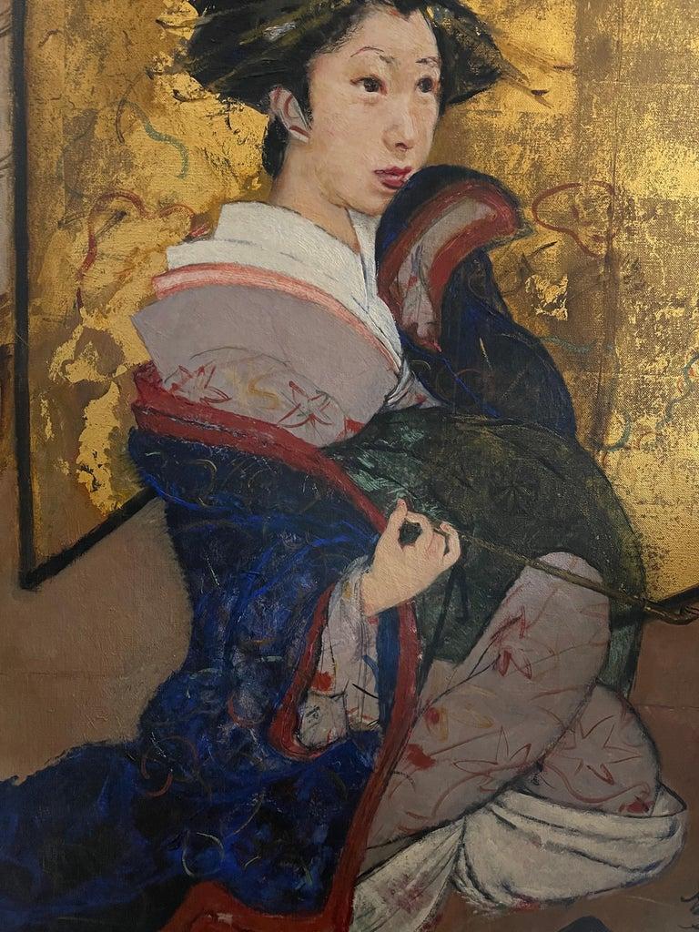 Portrait of a Geisha - Gold Portrait Painting by Roland Strasser