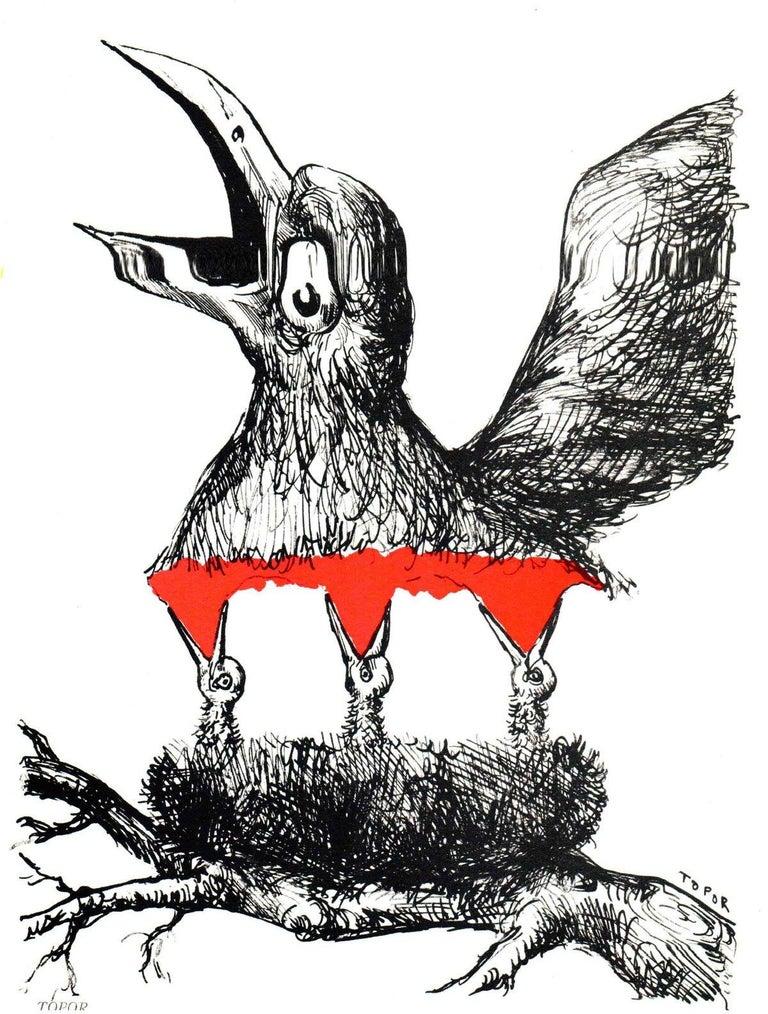 1967 Roland Topor 'Bird Nest' Contemporary Black & White,Red Lithograph - Print by Roland Topor