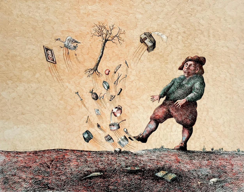 COUP DE VENT(Gust Of Wind) Signed Lithograph, Surreal Portrait, Black Humor