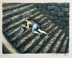 L'ESCALIER Signed Lithograph, Surrealist Portrait, Black Humor, Stairs