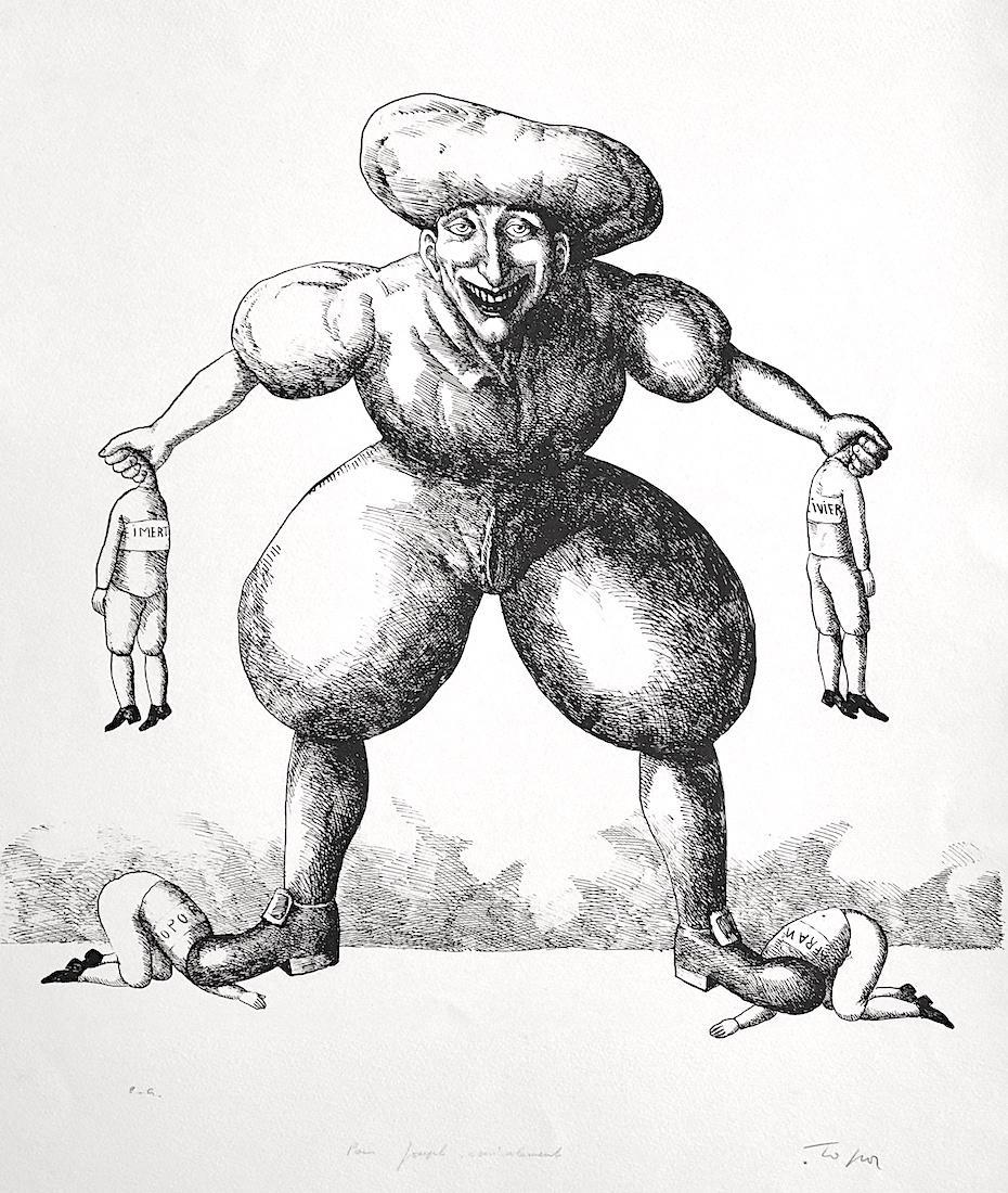 PANIQUE Signed Lithograph, Surreal Caricature Portrait, Black Humor