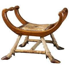 Roland Ward Unusual Roman Walnut Chair with Deer Feet