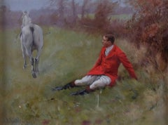 Painting of a Huntsman An Equestrian Sporting Picture Roland Wheelwright 20th C