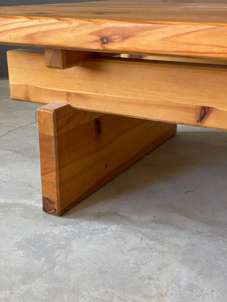 Scandinavian Modern Roland Wilhelmsson, Coffee Table, Solid Pine, Timmermannen, Sweden, 1973 For Sale