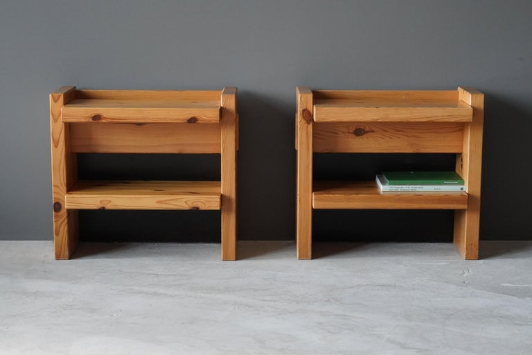 A pair of modern Minimalist nightstands / bedside tables / bedside cabinets. Design and production attributed to Roland Wilhelmsson, Studio.   Other designers working in similar Minimalist style include Charlotte Perriand, Axel Einar Hjorth, and