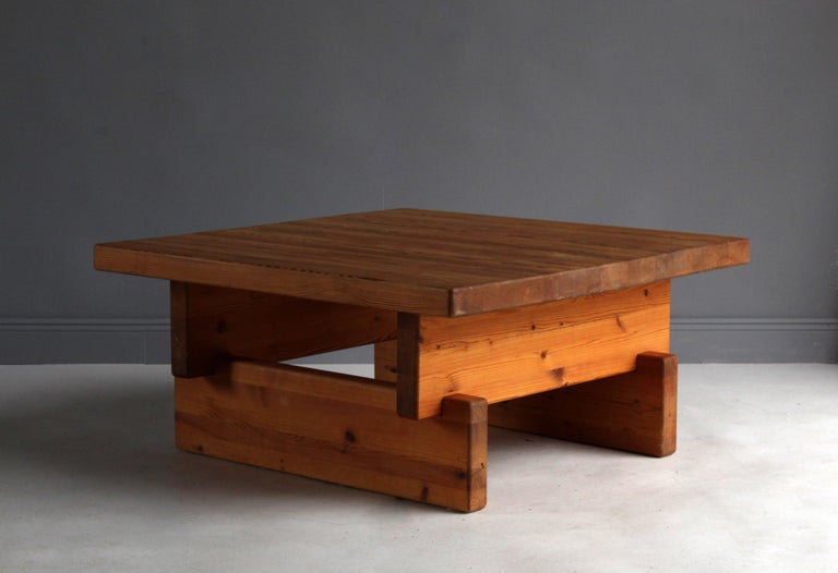 A modernist / Minimalist coffee table. Attributed to Roland Wilhelmsson. Possibly produced by Karl Andersson & Söner. Construction in sold pine blocks stacked upon each other.   Other designers working in similar fashion and materials include Axel