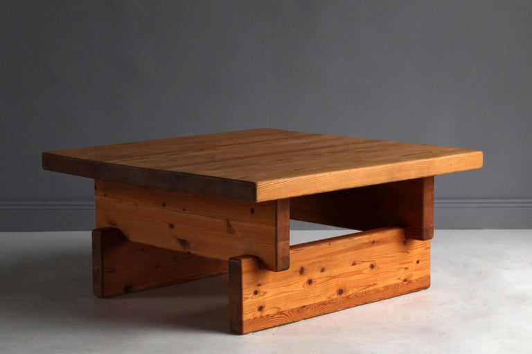 Scandinavian Modern Roland Wilhelmsson (attributed) Coffee Table, Solid Pine, 1960s, Sweden For Sale