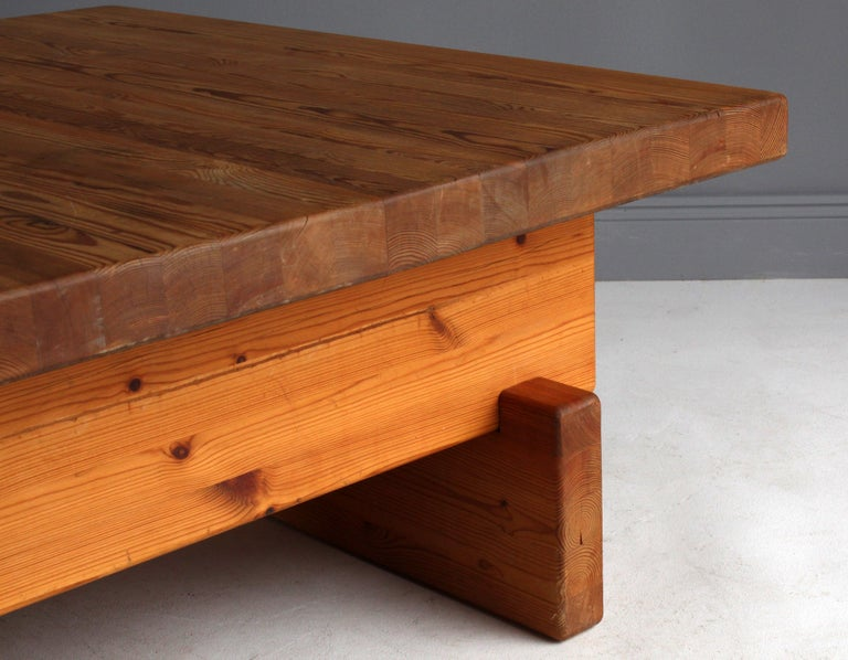 Mid-20th Century Roland Wilhelmsson (attributed) Coffee Table, Solid Pine, 1960s, Sweden For Sale