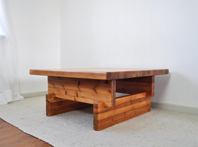 Scandinavian Modern Roland Wilhelmsson Solid Pine Coffee Table, Sweden, 1970s For Sale