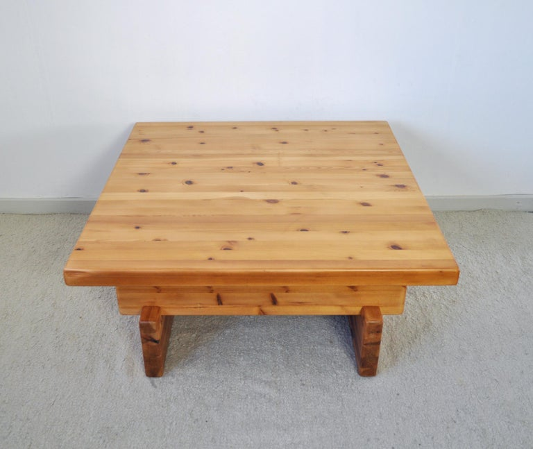 Swedish Roland Wilhelmsson Solid Pine Coffee Table, Sweden, 1970s For Sale