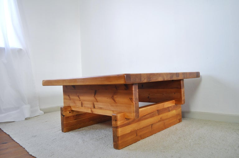 Late 20th Century Roland Wilhelmsson Solid Pine Coffee Table, Sweden, 1970s For Sale