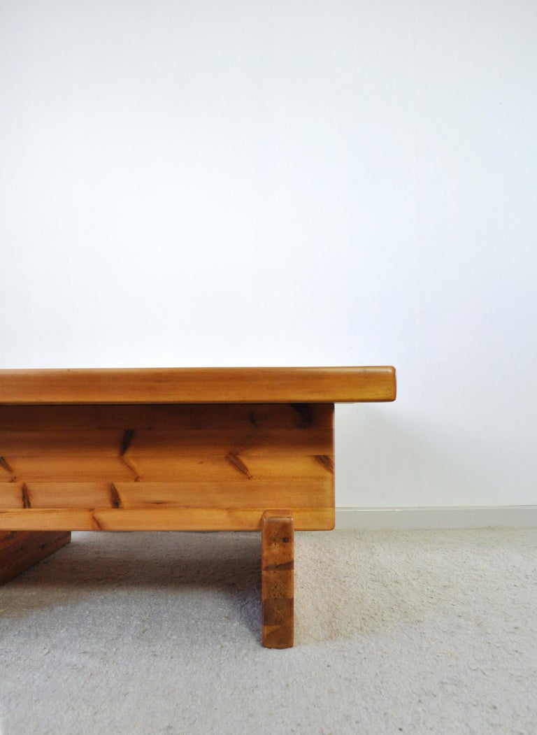 Roland Wilhelmsson Solid Pine Coffee Table, Sweden, 1970s For Sale 1