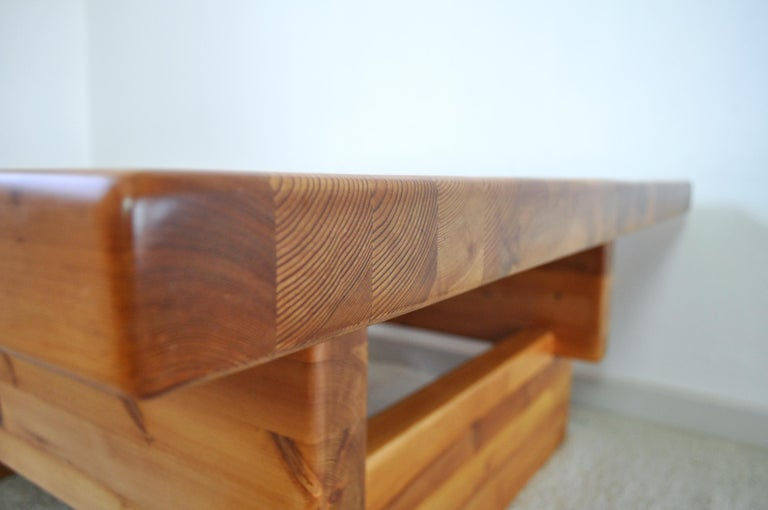 Roland Wilhelmsson Solid Pine Coffee Table, Sweden, 1970s For Sale 2