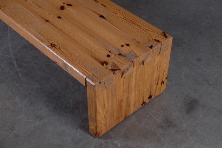 Scandinavian Modern Roland Wilhelmsson Table / Bench in Pine, Produced in Sweden, 1973 For Sale