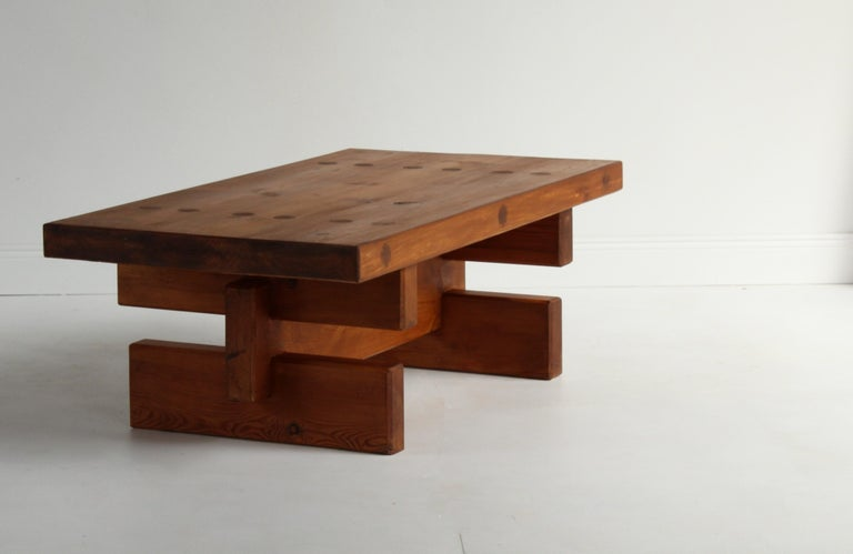 Roland Wilhelmsson, Unique Signed Coffee Table, Pine, Studio of Artist 1968 For Sale 6