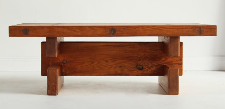 Roland Wilhelmsson, Unique Signed Coffee Table, Pine, Studio of Artist 1968 For Sale 8