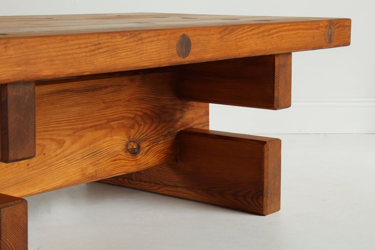 Roland Wilhelmsson, Unique Signed Coffee Table, Pine, Studio of Artist 1968 For Sale 9