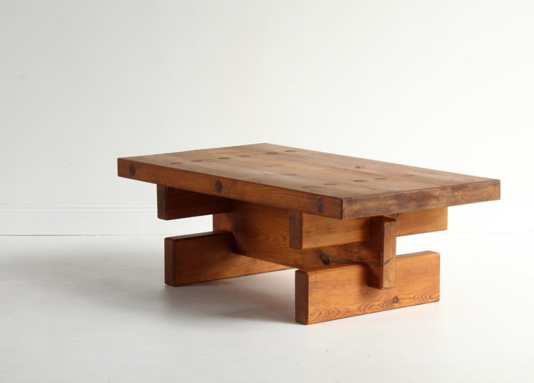 Swedish Roland Wilhelmsson, Unique Signed Coffee Table, Pine, Studio of Artist 1968 For Sale
