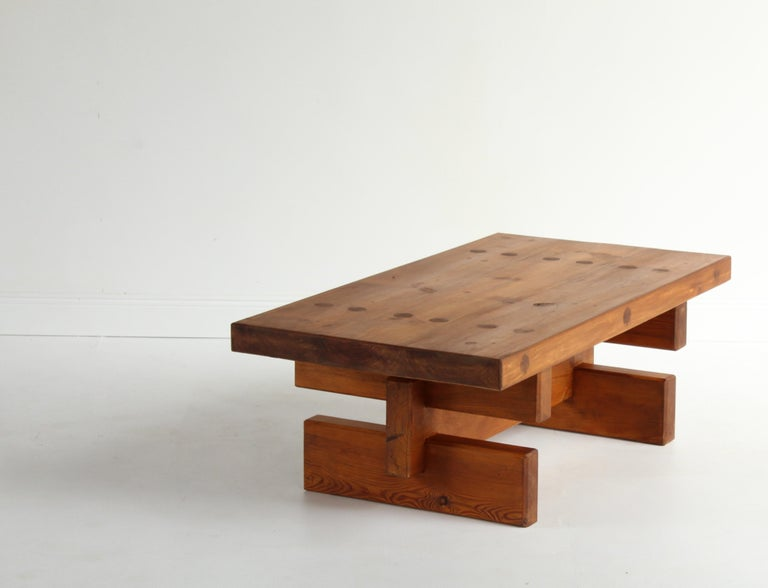 Roland Wilhelmsson, Unique Signed Coffee Table, Pine, Studio of Artist 1968 For Sale 1