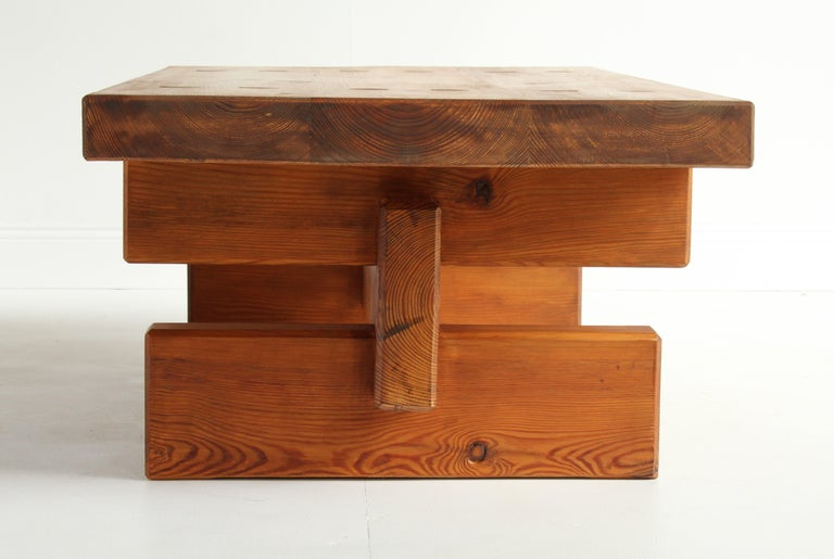 Roland Wilhelmsson, Unique Signed Coffee Table, Pine, Studio of Artist 1968 For Sale 3
