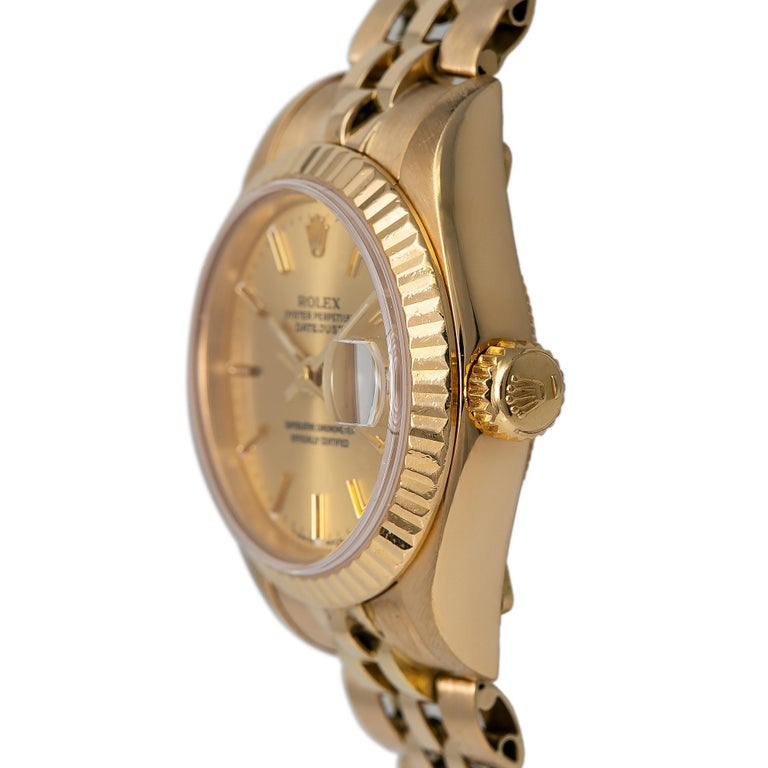 Contemporary Roles Datejust 69178 Automatic Watch 18K Yellow Gold Jubilee Champagne Dial For Sale