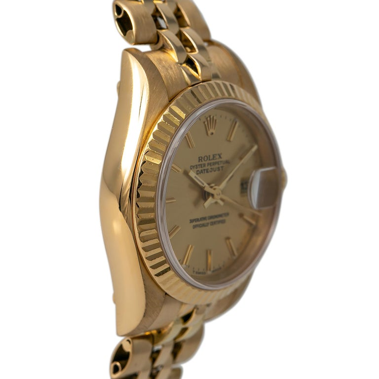 Roles Datejust 69178 Automatic Watch 18K Yellow Gold Jubilee Champagne Dial In Good Condition For Sale In Miami, FL