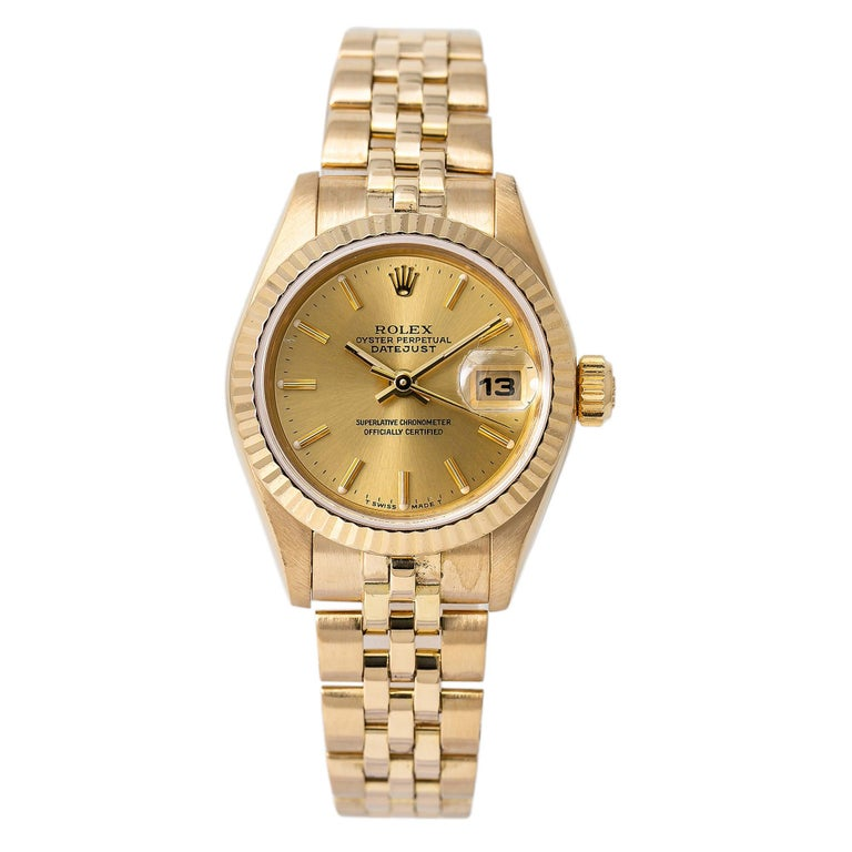 Roles Datejust 69178 Automatic Watch 18K Yellow Gold Jubilee Champagne Dial For Sale