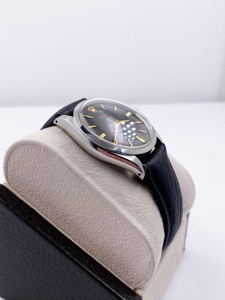 Rolex 1007 Stainless Steel Black Dial Oyster Perpetual, 1963 In Good Condition For Sale In San Diego, CA