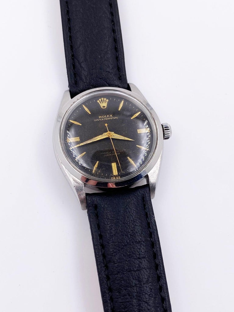 Rolex 1007 Stainless Steel Black Dial Oyster Perpetual, 1963 For Sale 3