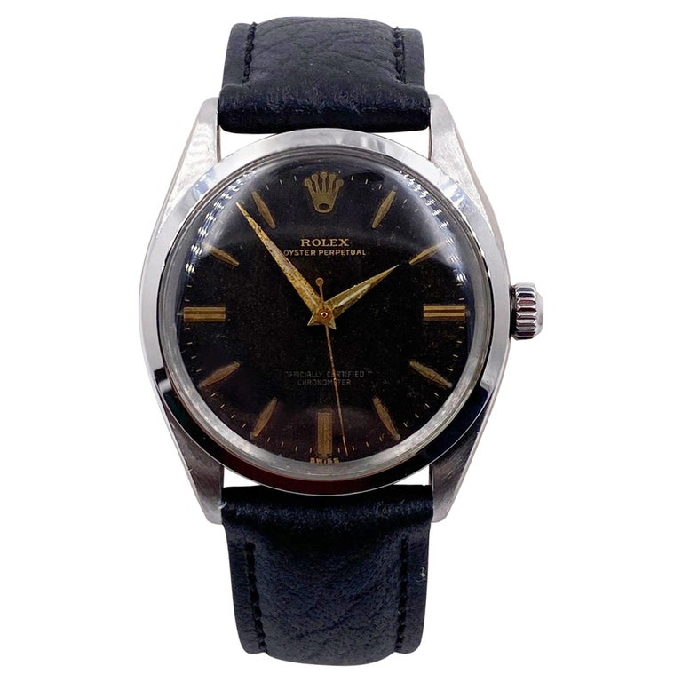 Rolex 1007 Stainless Steel Black Dial Oyster Perpetual, 1963 For Sale
