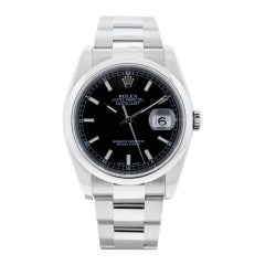 Rolex 116200 Datejust Black Stick Dial Stainless Steel Watch
