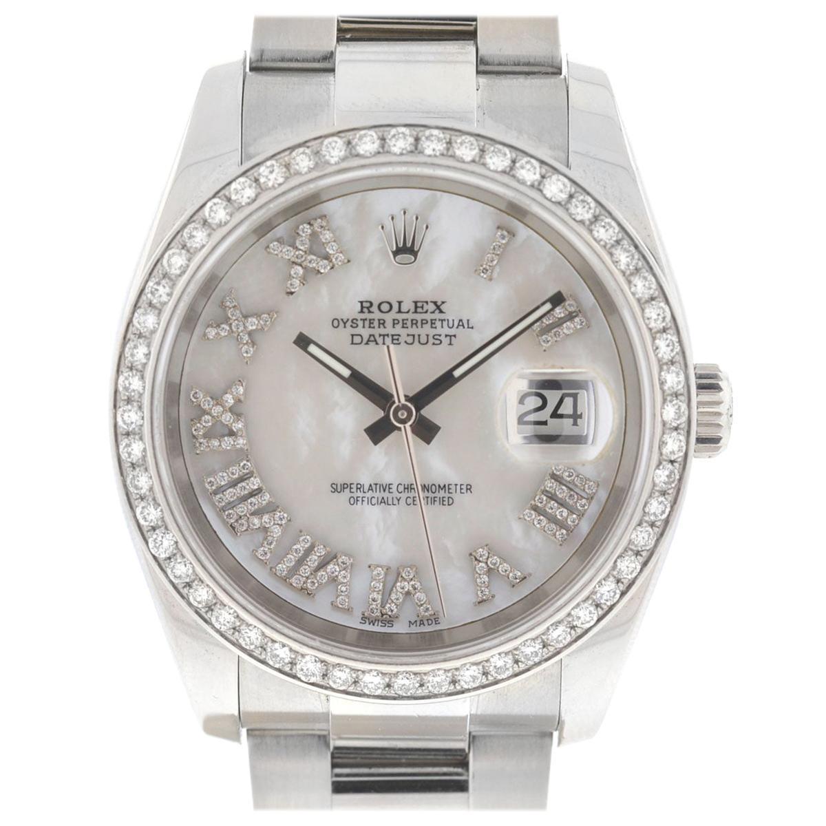 Rolex 116200 Datejust MOP Diamond Dial Diamond Bezel Stainless Steel Watch