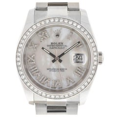 Rolex 116200 Datejust MOP Diamond Dial Diamond Bezel Stainless Steel Watch