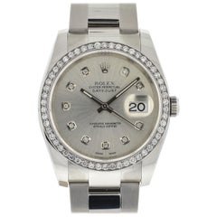 Rolex 116200 Datejust Stainless Steel Silver Diamond Dial and Bezel Watch