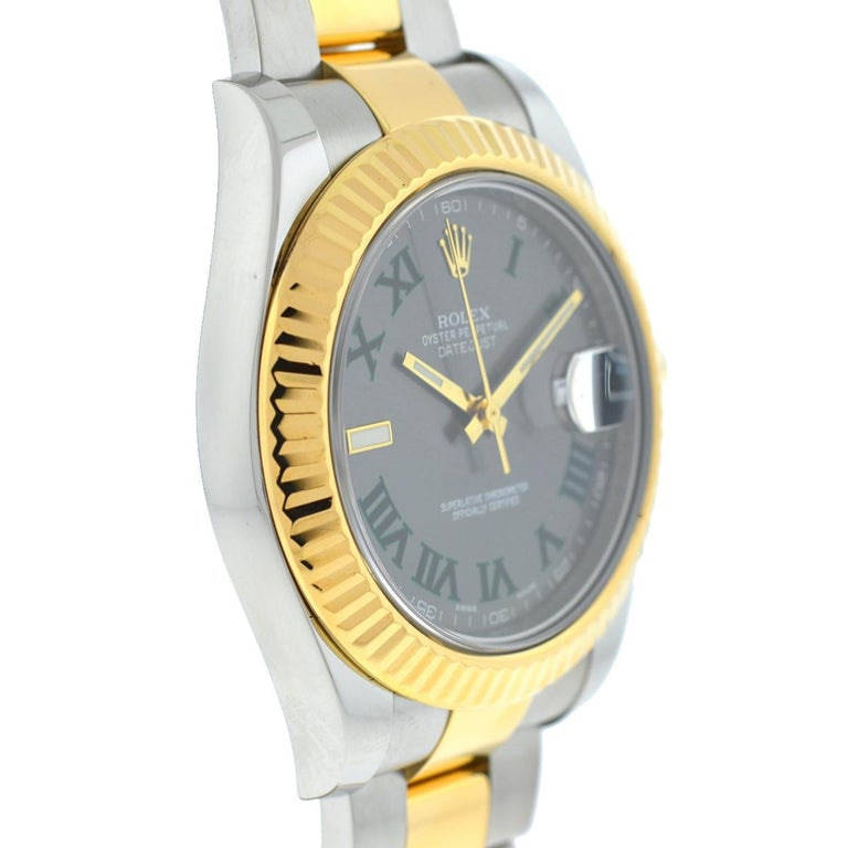 Rolex 116333 Datejust II Two-Tone Slate Dial Automatic Watch In Excellent Condition For Sale In Boca Raton, FL