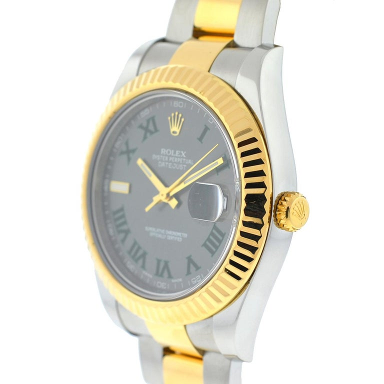 Men's Rolex 116333 Datejust II Two-Tone Slate Dial Automatic Watch For Sale