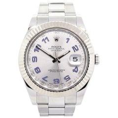 Rolex 116334 Datejust Blue Arabic Silver Dial Wristwatch