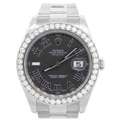 Rolex 116334 Datejust II Black Roman Dial Watch