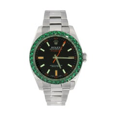 Rolex 116400 Milgauss Black Dial and Emerald Bezel Watch