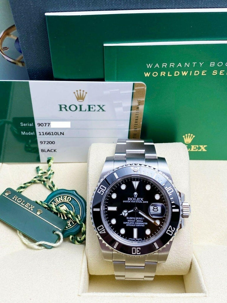 Rolex 116610 Ceramic Submariner Stainless Steel Box Paper 2015 Partial Stickers In Excellent Condition For Sale In San Diego, CA